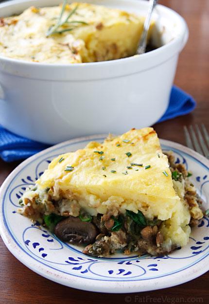 TheHealthyVeganPlate: Lentil, Spinach, Mushroom Shepherd's Pie