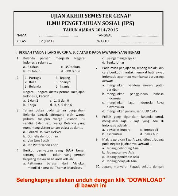 Download Soal Ukk Uas Semester 2 Ips Kelas 5 Tahun 2014 2015 Baru Rief Awa Blog Download