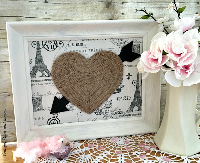 vintage Valentine wall art - twine heart on Paris fabric with thrifted frame
