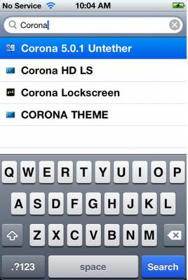Search Corona in Cydia