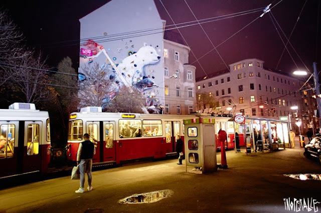 Street Art Collaboration By Collin Van Der Sluijs and Rutger In Vienna, Austria. Organised by Inoperable. 2