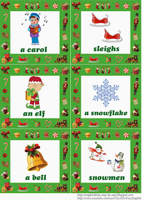 English language christmas flashcards