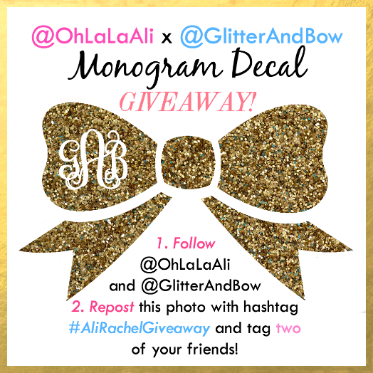 Instagram Monogram Decal Giveaway! Simply save this image and follow re-post instructions to enter for a chance to win!