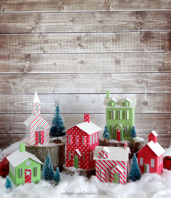 Make a tea light winter village paper craft to decorate your house during the holidays | popperandmimi.com