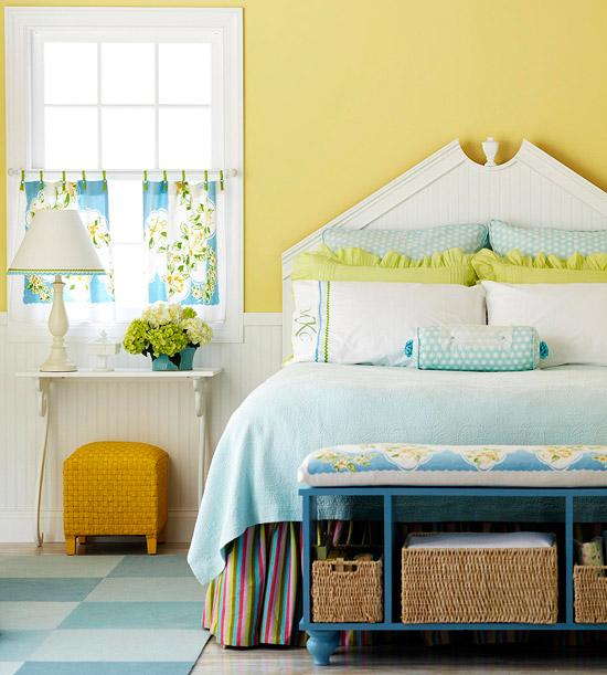 Dormitorios color amarillo dormitorios con estilo for Blue and yellow bedroom designs