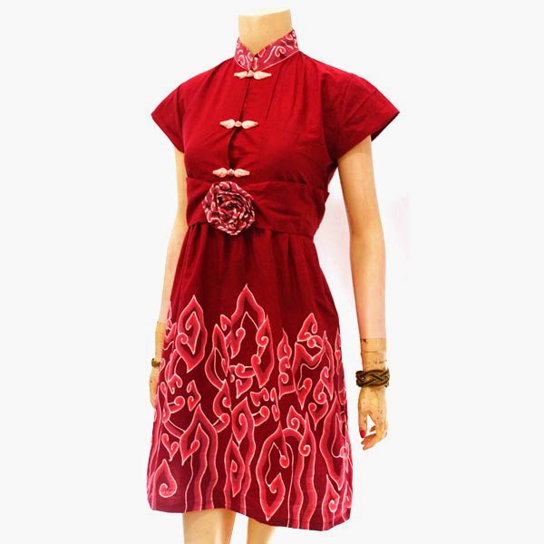 Model Batik Dress Motif Mega Mendung