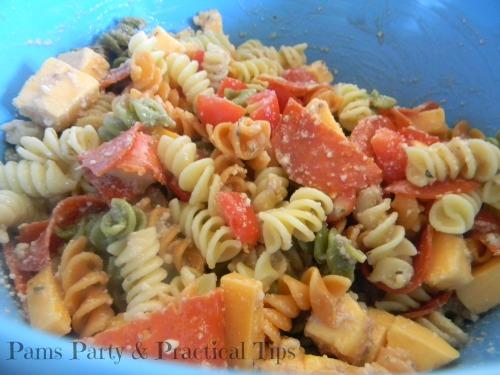 Rainbow Party Food, Pizza Pasta Salad