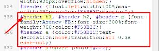 ubah kode pada header h1
