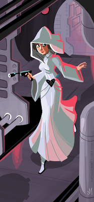 cute animated style art of Princess Leia running in Tantive IV corridor, blaster drawn