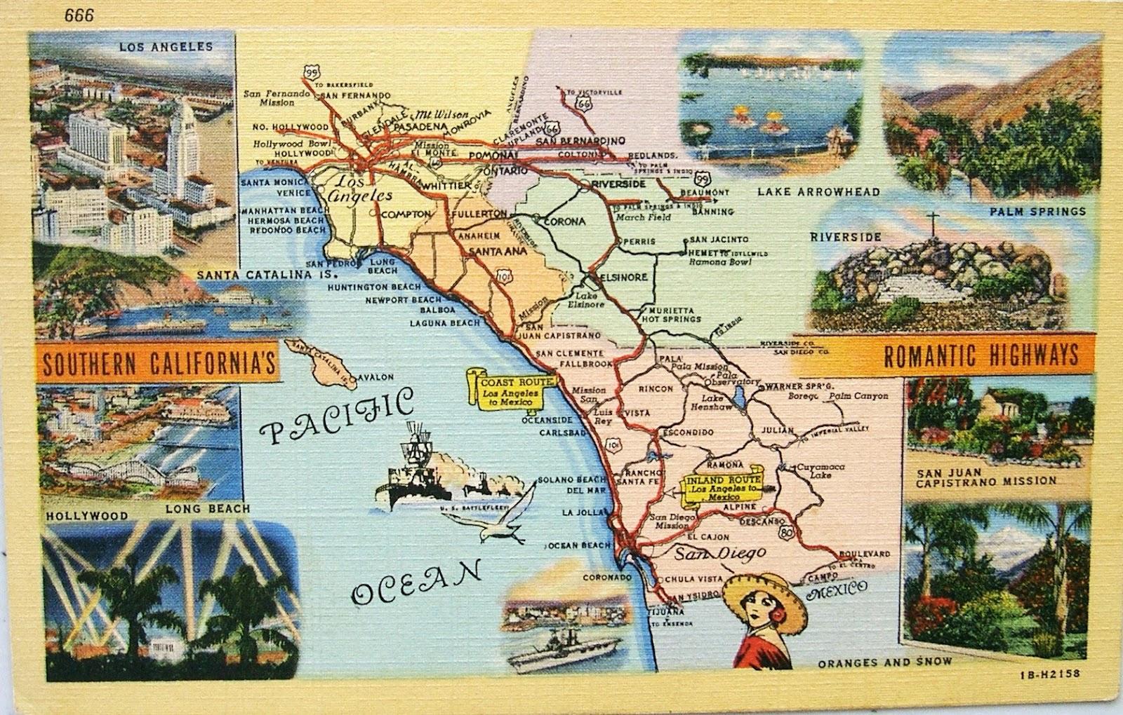 Postcardiva Postcard Blog Vintage US MAP Postcards - Los angeles map vintage