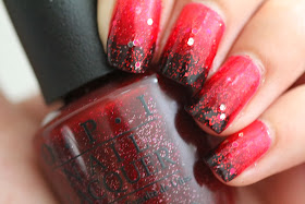 Red Glitter Gradient Nails!