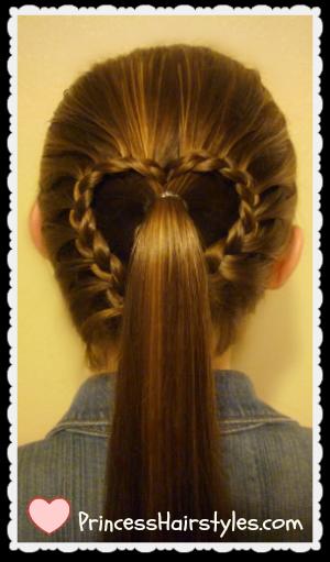 Lace braid heart ponytail