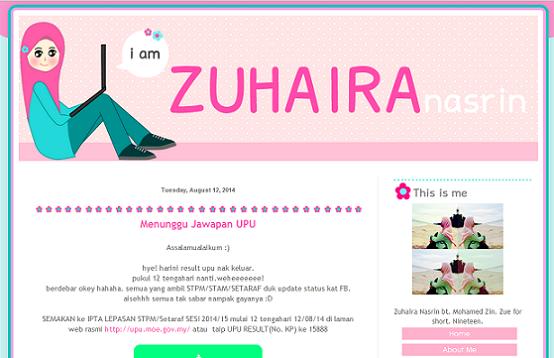 Tempahan : Blog Zuhaira Nasrin
