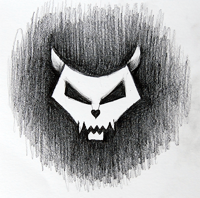 Pencil drawn stylized cat skull
