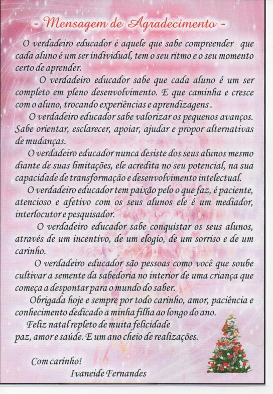 Populares Patronato Sousa Carvalho: Mensagem de Gratidão aos professores LP46