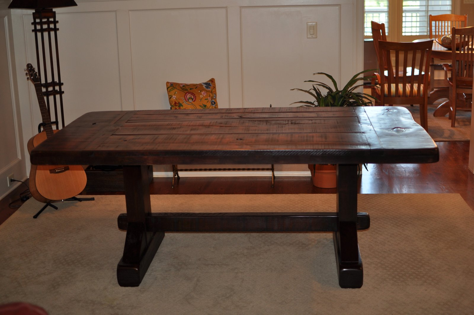 Rustic Trestle Dining Table 1600 x 1063