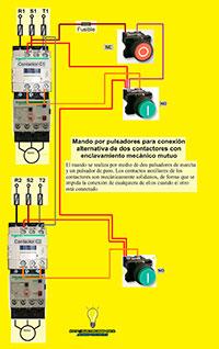 Mando por pulsadores para conexion alternativa de dos contactores con enclavamiento mecanico
