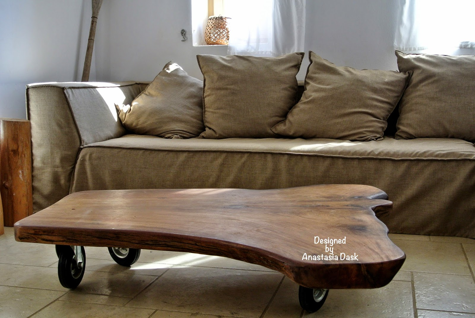 Today Iu0027m Sharing With You A Coffee Table I Made For House A In Milos  Project.It Is A Solid Piece Of Wood With Big Wheels. I Also Used Tree  Blocks As Side ...