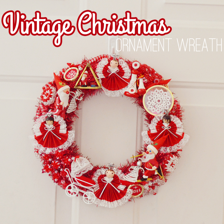 red christmas wreath with sparkly tinsel and vintage red christmas ornaments