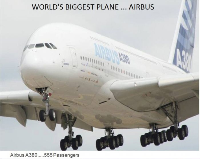 Airbus A380 is world biggest plane. It can carry 555 passengers, world records, biggest plane