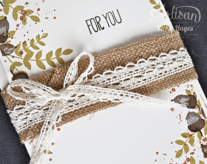 UK Stampin' Up demonstrator Vicky Hayes makes a belly band with burlap and lace ribbons, available to buy online