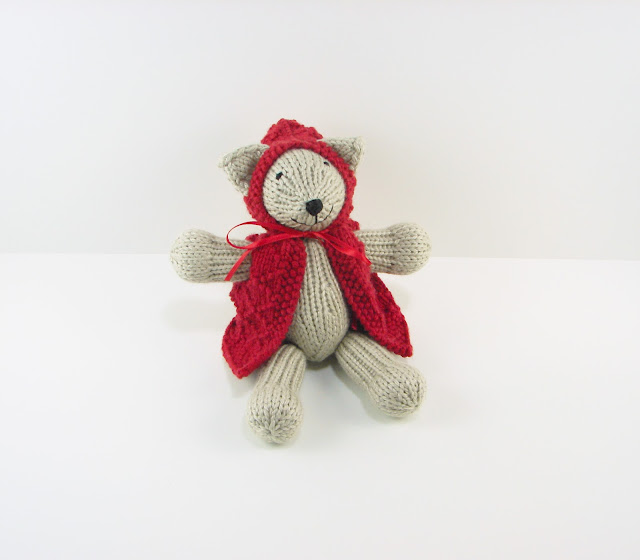 little, red, riding, hood, kitty, toy, cat, stuffed, animal, knitted, gray