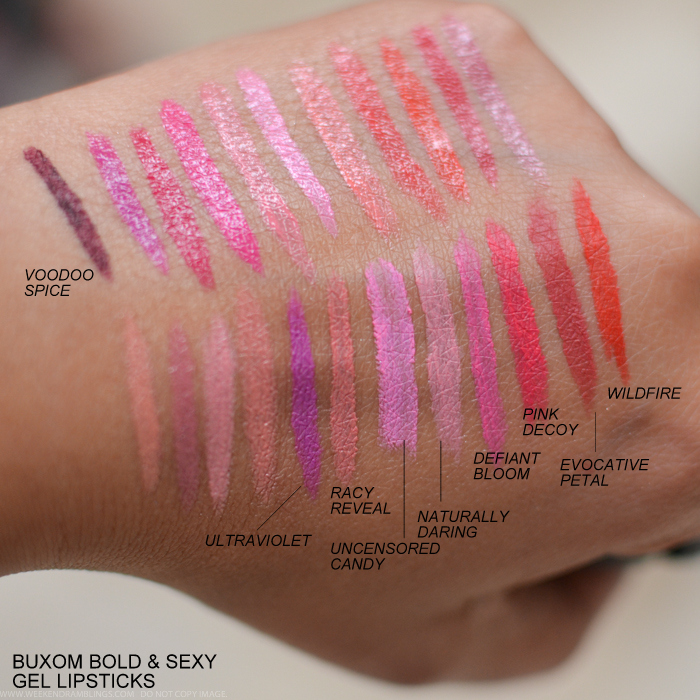 Buxom Big Sexy Bold Gel Lipsticks Swatches Voodoo Spice Ultraviolet Racy Reveal Uncensored Candy Naturally Daring Defiant Bloom Evocative Petal Wild Fire Pink Decoy