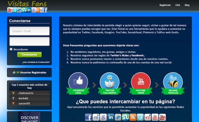 VisitasFan (Intercambio de seguidores y acciones en redes sociales. Los puntos obtenidos por la actividad pueden ser canjeados en acciones en tus redes o por dinero)