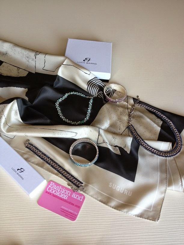 Suguru silk scarf, Luca Barra jewels, Fashion and Cookies, fashion blogger
