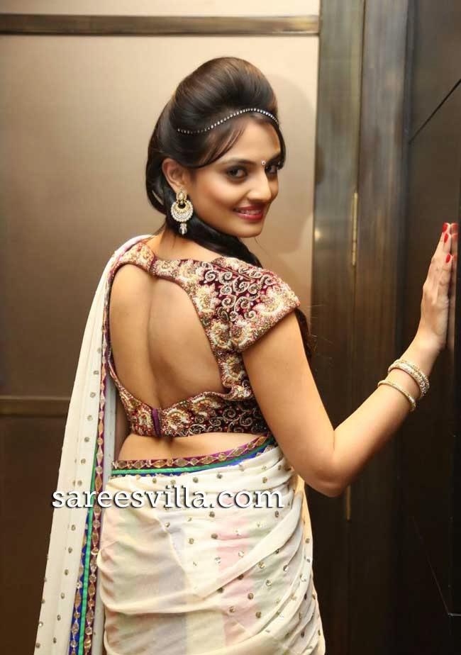 Nikitha Narayan in deep back blouse