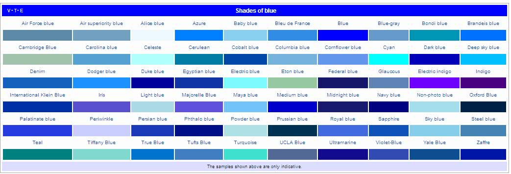 colors shades social colors social image list of colors and name - Shades Of Blue And Their Names
