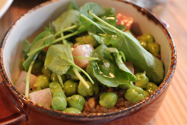 Farro with green garbanzo beans at West Bridge, Cambridge, Mass.