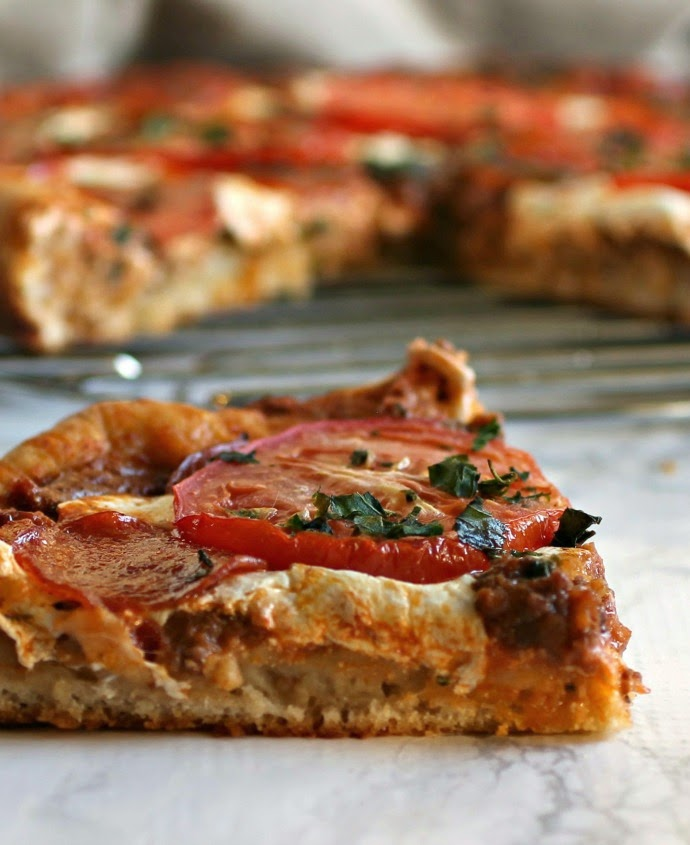 Cast Iron Loaded Deep Dish Pizza