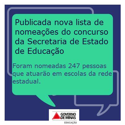 Secretaria de Educação de Minas Gerais – Edital SEPLAG/SEE nº 01/2011: saiu a nova lista de nomeações