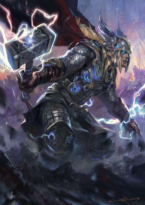 HongWen xaeroaaa deviantart ilustrações fantasia ficção científica Thor
