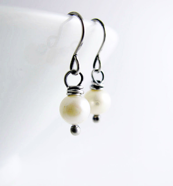Victoria Sterling Silver and Pearl Earrings by Beth Hemmila of Hint Jewelry