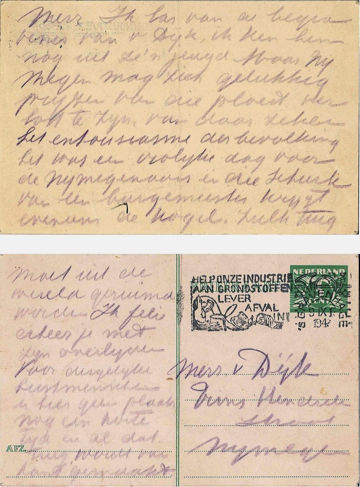 Anonieme briefkaart aan de weduwe van Antoine van Dijk