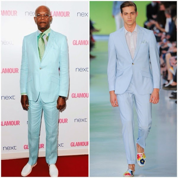 Samuel L. Jackson Richard James blue teal suit - 2014 Glamour Women of the Year Awards