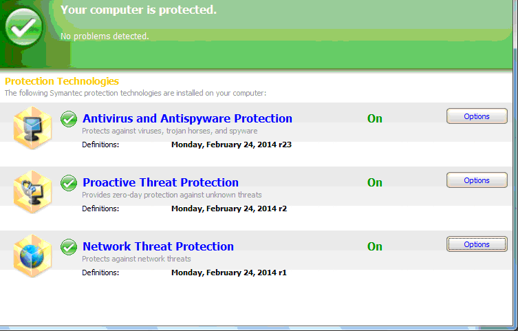 symantec screen
