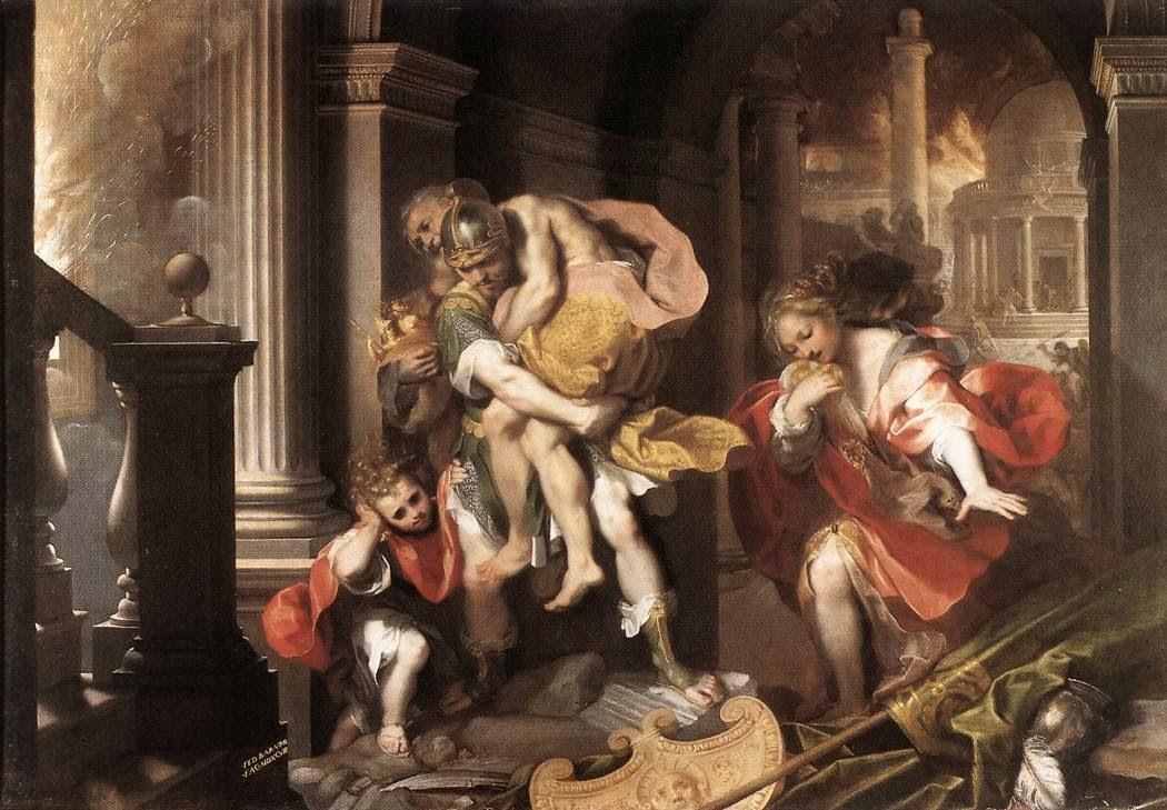 Eneas, el superviviente de la Guerra de Troya. Aeneas'_Flight_from_Troy_by_Federico_Barocci