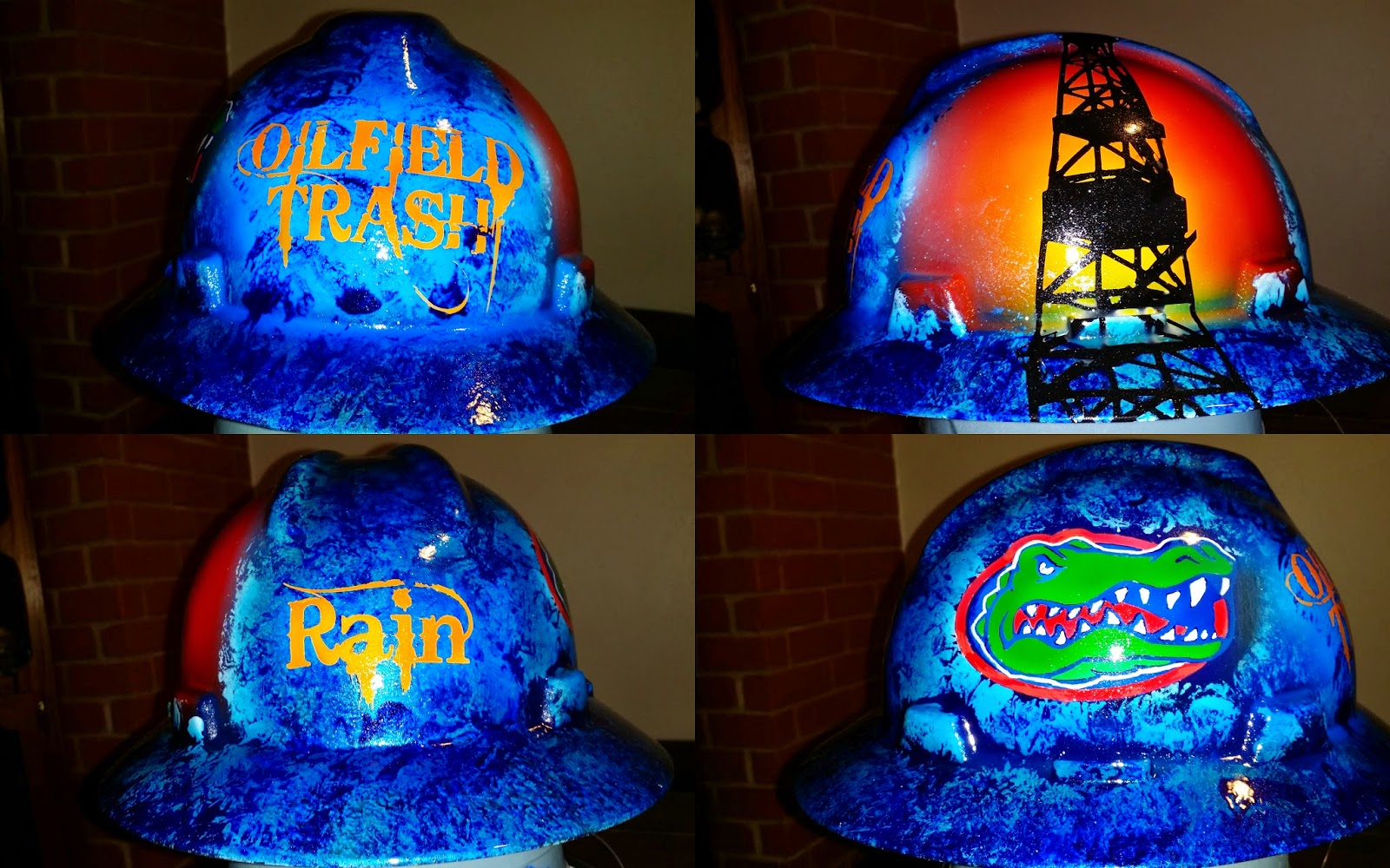 Florida Gators custom hard hat in blue and orange