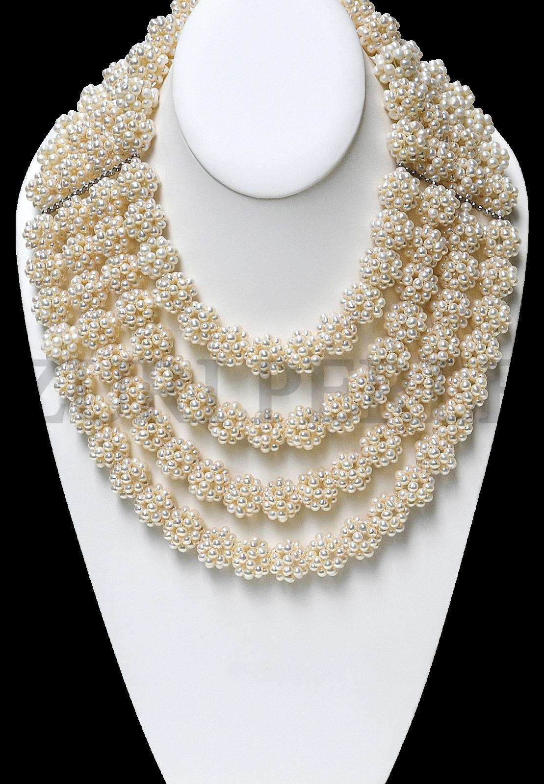 white fresh water cluster pearls Zuri Perle necklace earrings bracelet