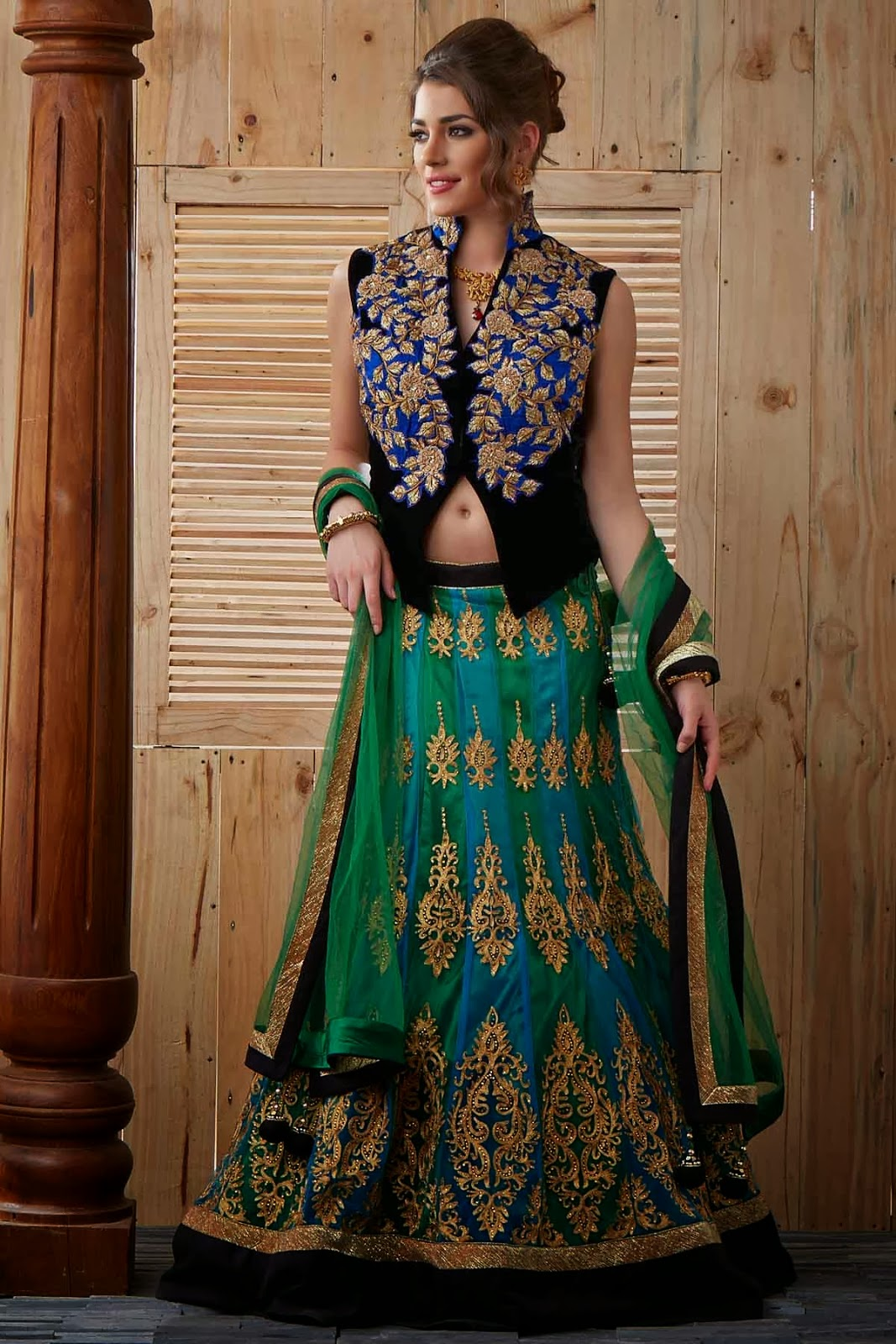 Multi-Colour Net Lehenga with Zari Embroidery