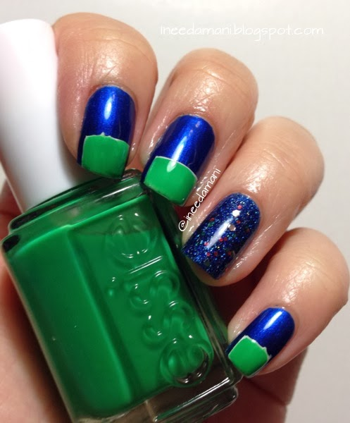 blue and green nfl seahawks nails