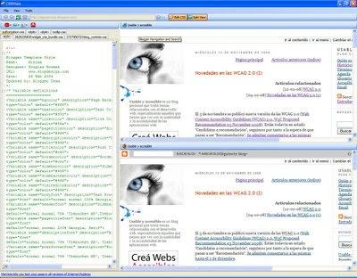 Pantallazo de SiteVista en el que se edita la CSS de este blog visualizándose a la vez en Explorer y Firefox