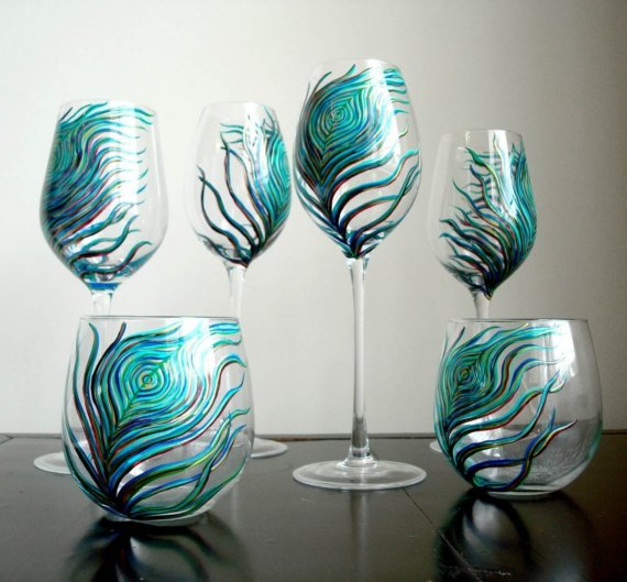 Painted Couple Peacock Wedding Gifts Unique Delicate Home: Unique Concepts & Design: Peacock Stemless Glasses