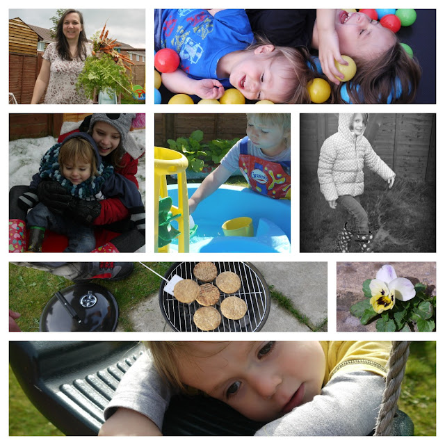 gardening, playing, family