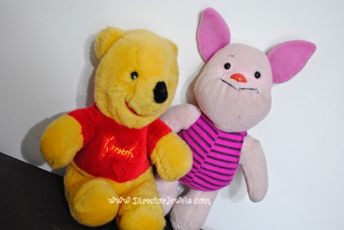 Vintage Piglet and Pooh Plush Toys. Disney Winnie the Pooh Birthday Tea Party Decorations and Theme for Toddlers. 2nd Birthday Party Ideas.