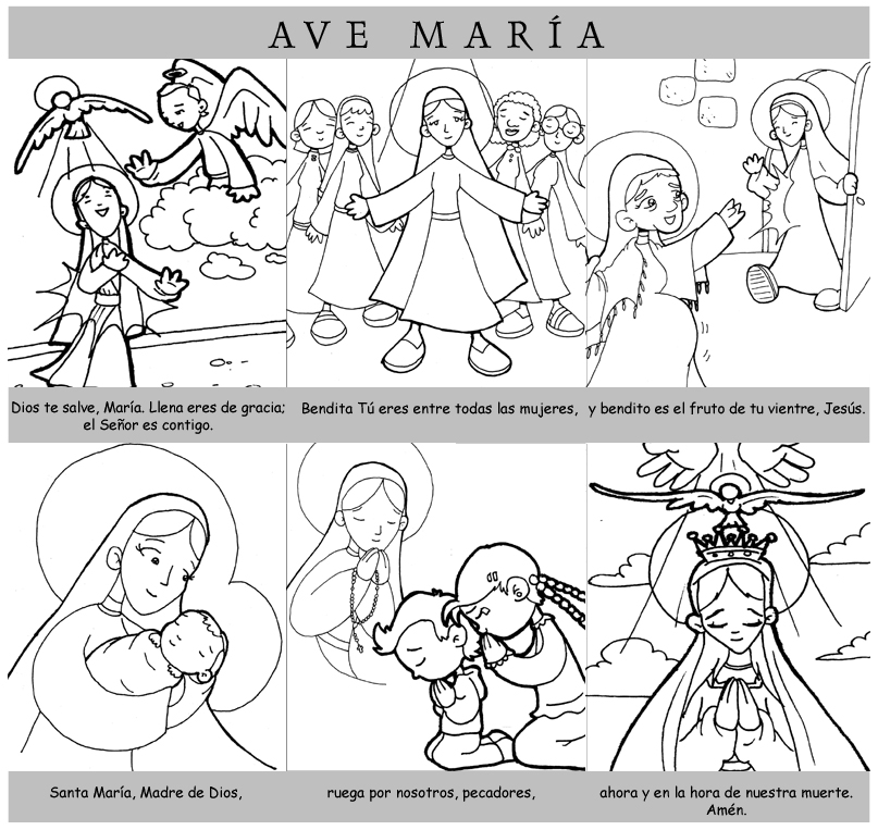Educar con Jesús: Avemaría y Angelus con dibujospara colorear ...