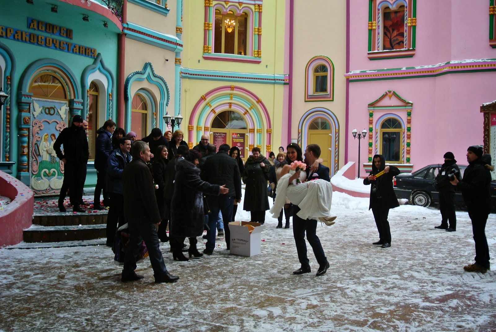 A bride and groom, just married at Ismailovo Kremlin, Moscow